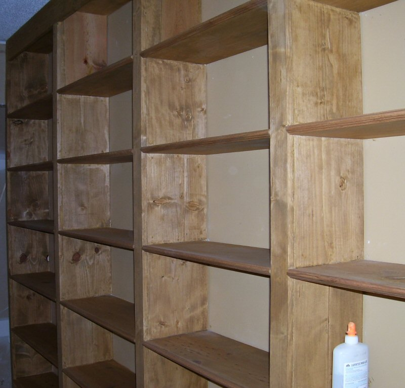 Large bookcase closeup